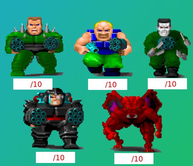 Rate each enemy and boss Enemies2